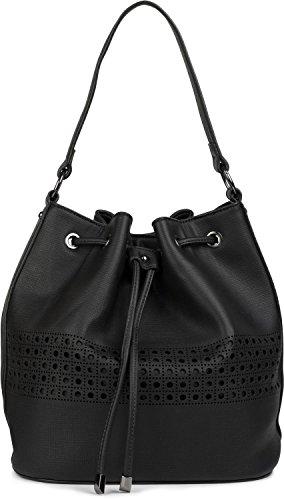 styleBREAKER borsa a secchiello bucket bag con motivo a intaglio, borsa da spalla, borsa a tracolla, borsetta, donna 02012196, colore:Nero Nero