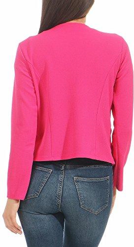 malito Damen Blazer ohne Kragen | Sakko im Basic Look | Kurzjacke mit Zipper | Jacke