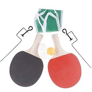Baoblaze Tischtennisschläger Set 1 Paar Pingpong-Schläger Schläger mit Bälle und Netz Kinder Spielzeug