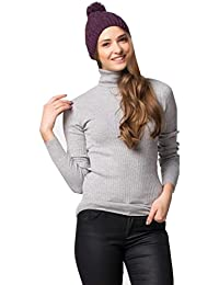 NEW WOMEN'S STRETCHY ROLL-NECK LONG-SLEEVE COTTON PLAIN TOPS (Small - UK10 (38), Grey)**SAME DAY POSTING**