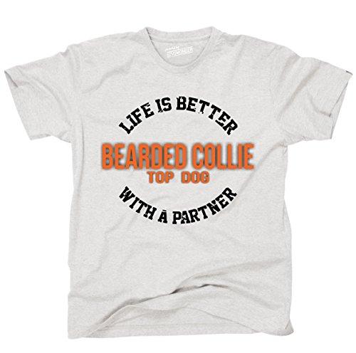 Siviwonder Unisex T-Shirt BEARDED COLLIE - LIFE IS BETTER PARTNER Hunde Ash