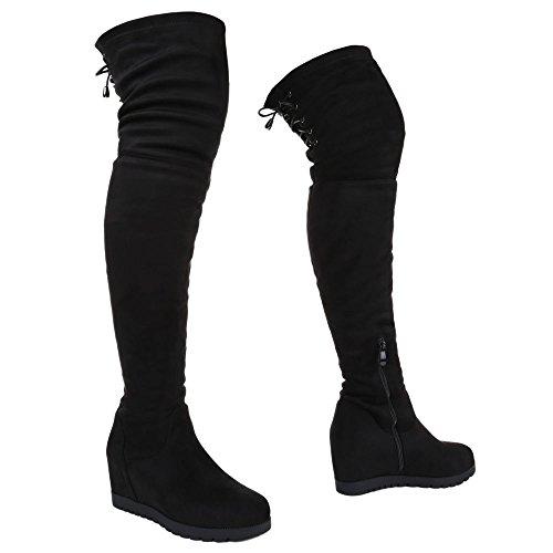 Damen Overknee Stiefel Schuhe Wedges Keil Schwarz 36 37 38 39 40 41 Schwarz