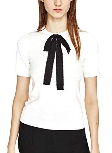 Azbro Women's Fashion Short Sleeve Bow front Tee White