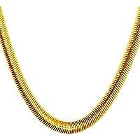 قلادة أنيقة مطلية بالذهب الحقيقة عيار 18 قيراط من عظم الأفعى للرجال تحمل ختم طلاء الذهب الحقيقي 18 قيراط