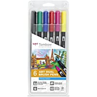 Tombow Dual Brush - Estuche 6 rotuladores doble punta pincel, color muticolor