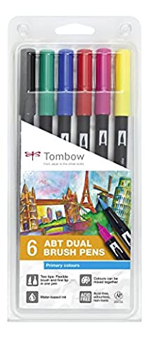 Tombow ABT-6P-1 Dual Brush Pen Lot de 6 Feutres pinceau
