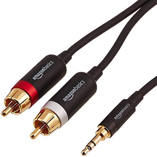 AmazonBasics PBH-19822 Cinch-Audiokabel, 3,5-mm-Klinkenstecker auf 2 x Cinch-Stecker, 2,44m