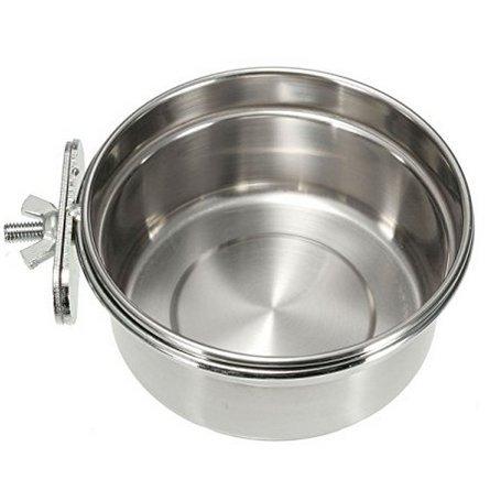 Fiambrera perro gato en acero inoxidable para fijar en jaula de perro cachorro gato pájaros de mascotas cuenco dispensador comida alimentos agua