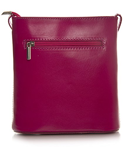 Big Handbag Shop Borsetta piccola a tracolla, vera pelle italiana Pink & Dark Tan