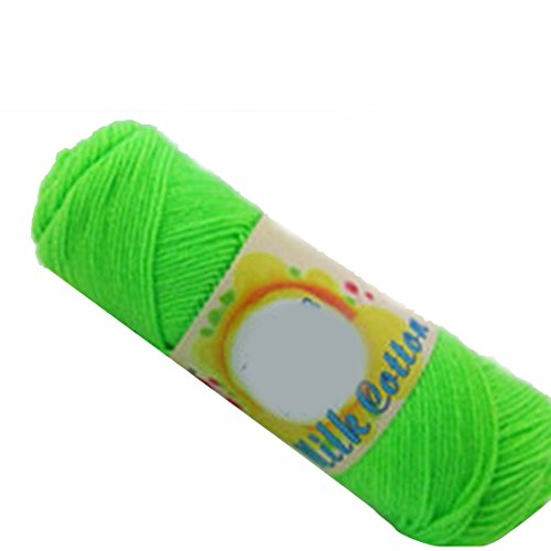 New Super Soft Milk Cotton Strickwolle Schal Weben Häkeln Wollgarn Neongrün