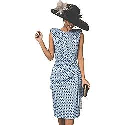 Vestido De Cóctel Lunares Sin Mangas Elegantes Vintage Verano Lápiz Vestidos De Fiesta Mujer Cortos Azul Claro XL
