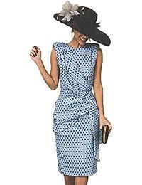 132c39f3ff Vestido De Cóctel Lunares Sin Mangas Elegantes Vintage Verano Lápiz Vestidos  De Fiesta Mujer Cortos