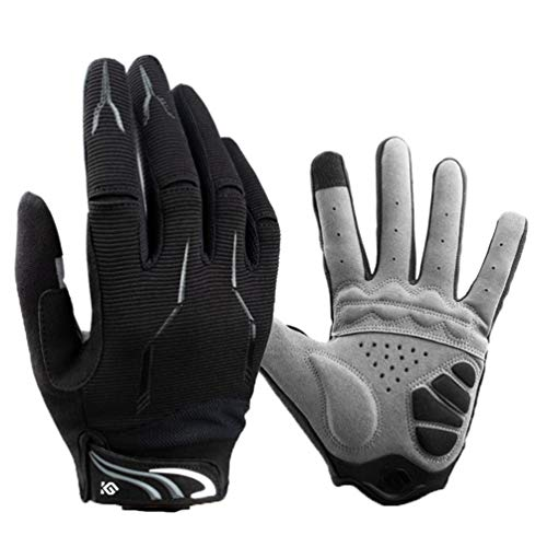 HSENA Touchscreen Fahrradhandschuhe Anti Slip Verschleißfeste Fahrradhandschuhe Sport Stoßfest Vollfinger Fahrrad Handschuhe für Männer Frauen