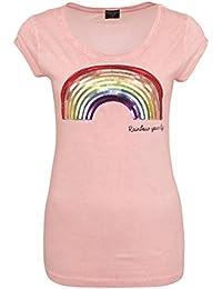 896b394f4a37 Fresh Made Damen T-Shirt mit Pailletten Regenbogen   Statement Tee    Leichtes Basic Shirt