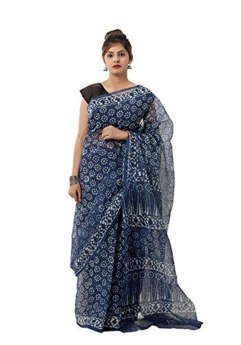 Handicraft-Palace Kota Doria Cotton Saree | Indigo Blue , Floral | Women's...