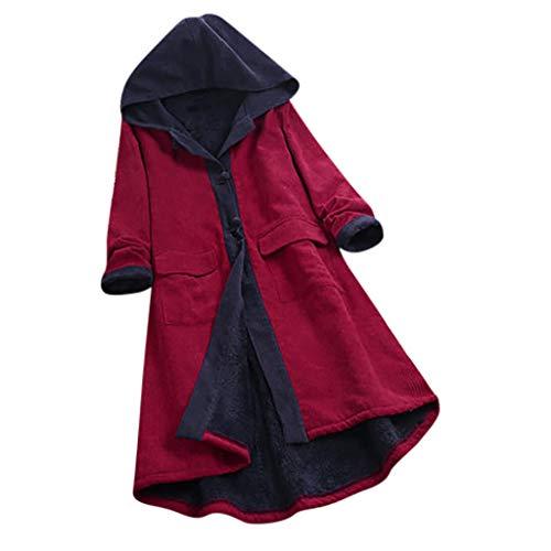 Giacca Corduroy da Donna - Cappotti da Donna Oversize Corduroy Donna Inverno Caldo Outerwear Casual Maniche Lunghe Allentato Cappotto(Rosso,5XL)