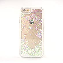 "Yihya Claro Transparente Fluir Color Reloj de Arena Cubierta Blingbling Cover para Apple Iphone 6 plus 5.5"" Duro Backcase Protectora Skin con Glitter Love Heart Sequin ---"