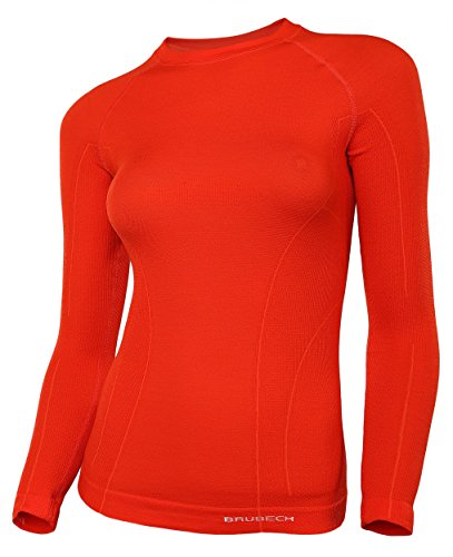BRUBECK® ACTIVE WOOL Damen Langarm-Shirt (41% Merino-Wolle Anti-allergisch Antibakteriell), Größen:L;Farbe:Red