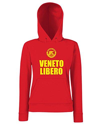 T-Shirtshock - Sweats a capuche Femme T0922 VENETO LIBERO LEONE SAN MARCO VENEZIA militari Rouge