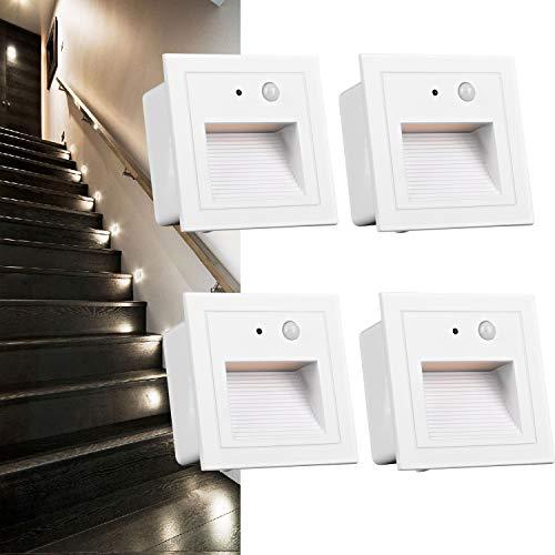 Arote 4er Set 3W LED Treppenlicht mit Bewegungsmelder Wandeinbauleuchte Wandleuchte Wandeinbaustrahler Stufenlicht Beleuchtung Lampe, innen aussen, weiß, Alu, 230V warmweiß 3000K IP65, Body Sensor (Outdoor Wandleuchte-bewegungs-sensor)