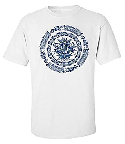 Blue mandala logo dope Men's T shirt X-Large