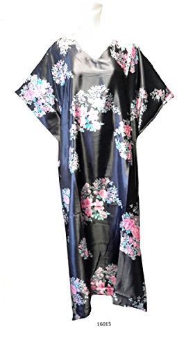 Damen 100% Polyester Woven Printed Silky Satin Long Kaftan. One Size Fit UK 10-32 (Kaftan Satin)