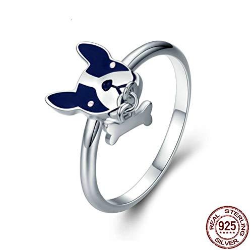 Damen 925 Sterling Silber Ring, Blauer Emailfarbe Französische Bulldogge Knochen Anhänger Neuheit Weiblichen Finger Ringe Für Frauen Mädchen, Hochzeitstag Verlobung Ewigkeit Brautschmuck Festival