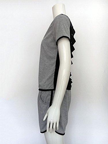 Baymate Femme Cartoon Singe Survêtement Hoodies Sweat-shirts Pantalons Sports 2pcs Gris Noir