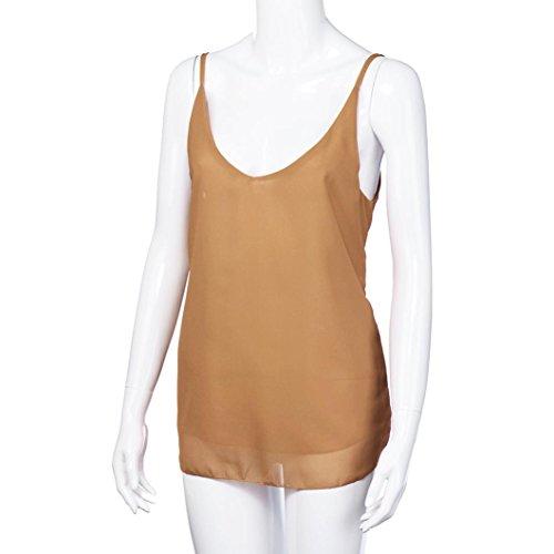 Weste Damen Bekleidung Longra Damen Sommer V Neck Sleeveless Tank-Tops Chiffon ärmellose Hemd Bluse Khaki