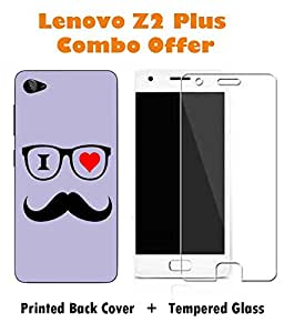 Lenovo Z2 Plus Mustache Printed Purple Hard Back Cover with Premium Tempered Glass Combo By Make My Print