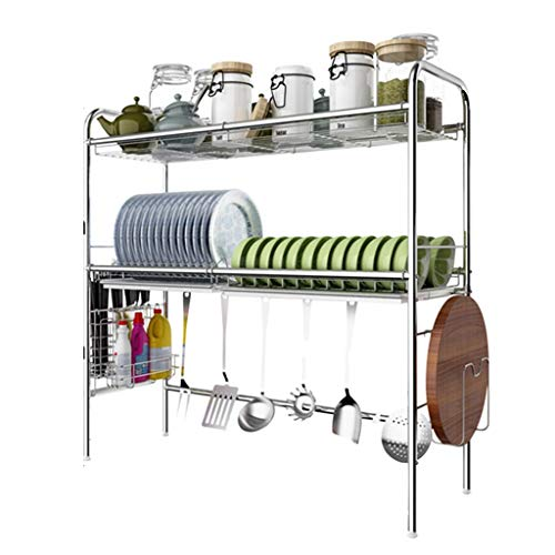 Rack de secado de platos de 2 niveles sobre fregadero - Organizador de cocina y estante de escurridor de acero inoxidable, 6 ganchos, 79 x 28 x 81 cm