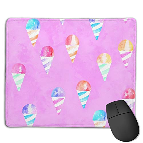 Watercolor Snow Cones Pink LAD Computers Thick Keyboard Non-Slip Rubber Base Mouse pad Mat 7 X 8.6 inch - Vintage Snow Cone