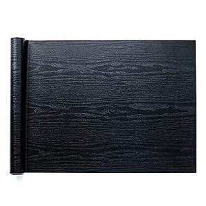 Homein Möbelfolie Holzoptik Folie Klebefolie Vinyl Selbstklebend Dekorfolie Fensteraufkleber PVC Aufkleber für Möbel Küche Küchenschrank Schwarz 44.5 x 200 cm