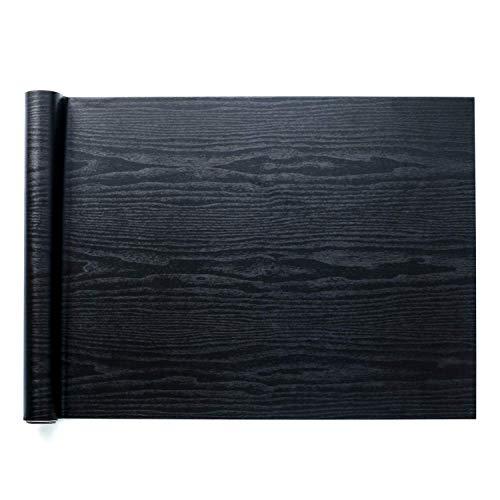 *Homein Möbelfolie Holzoptik Folie Klebefolie Vinyl Selbstklebend Dekorfolie Fensteraufkleber PVC Aufkleber für Möbel Küche Küchenschrank Schwarz 44.5 x 200 cm*