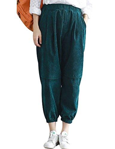 Youlee Damen Neu Elastische Taille Cordhose mit Taschen Style 1 Green S