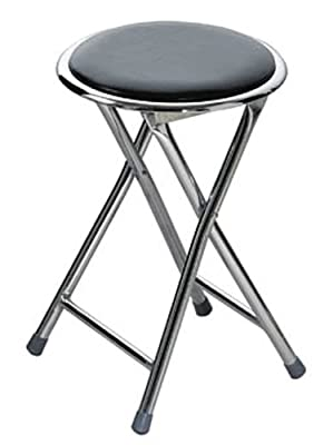 Premier Housewares Round Shaped Folding Stool with Chrome Frame, 45 x 30 x 30 cm, Black_Parent