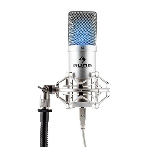 auna MIC-900S-LED USB Kondensator Mikrofon für Studio-Aufnahmen inkl. Spinne mit blauer LED-Beleuchtung (16mm Kapsel, Nierencharakteristik, 30Hz - 18KHz, Plug & Play) silber -
