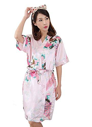GGTFA Donne In Kimono Accappatoio Modello Pavone Accappatoio Abito Pigiameria Pigiameria Rosa