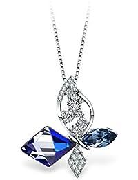 T400 Collier pour Femme Papillon Pendentif avec Cristal de Swarovski,Cadeaux  pour Femmes Filles 5e40d30092a1