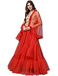 e0f98f9d54b2e6 Inddus Red Silk Blended Embroidered Lehenga Choli with Dupatta (Semi- Stitched