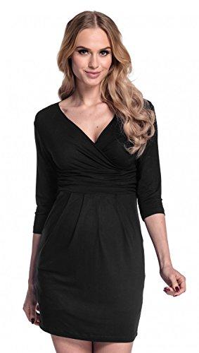 Happy mama. donna. abito elasticizzato prémaman elegante vestito con tasca. 236p (nero, it 42, m)