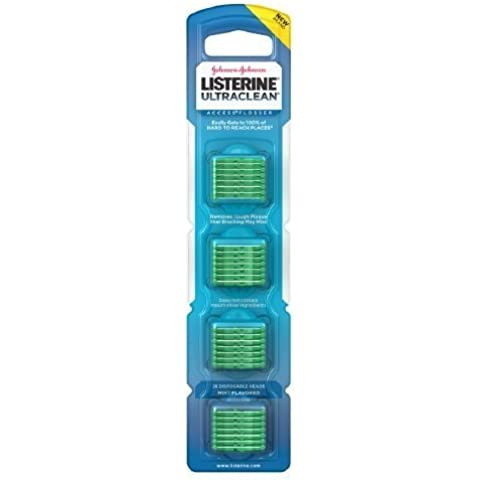 Listerine Ultraclean Access Flosser Refill Pack With 28 Disposable Heads, Mint-flavored (6 Packs) by Johnson (Disposable Refill)