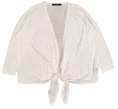 Lauren Ralph Lauren Strickjacke mit Schnürung, Damen, weiß, 2X (Plus Size Ralph Lauren Für Frauen)