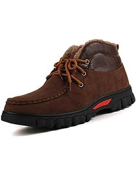 Algod¨®n c¨¢lido invierno masculino grueso de felpa de corte alto para ayudar a aumentar el tama?o de botas de...