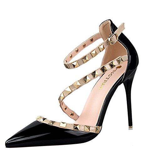 Minetom scarpe col tacco estate donna court party shoes rotazione rivetti punta aguzza bocca superficiale sottile tacchi alti pompa sandali tacco alto nero eu 37