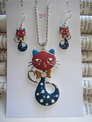 Collier et boucles d'oreille chat