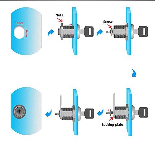 youtu 4 Stück Briefkastenschloss Möbelschlösser Zylinderschloss Verschiedenschließend Zylinder Cam Lock Schrankschloss Spindtürschloss Schubladeschloss mit 2 Schlüsseln (16mm) - 7