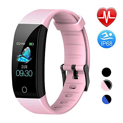 TwobeFit Pulsera Actividad, Pulsera Inteligente Pantalla Color HR con Pulsómetro Pulsera Deportiva y Monitor de Sueño de Actividad para Mujer Hombre Reloj Fitness Podómetro (Pink)