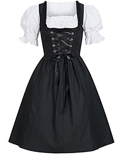 Shelers Damen Vintage Sexy Dirndl Bayern Fest Empire Taille Damen Trachtenkleid Kleid