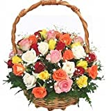Indian Gift Emporium Lovely Mix Fresh Roses Flower Basket (Bunch of 25)